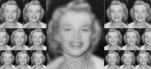 Weer een optische illusie, zie jij Albert Einstein of Marilyn ...
