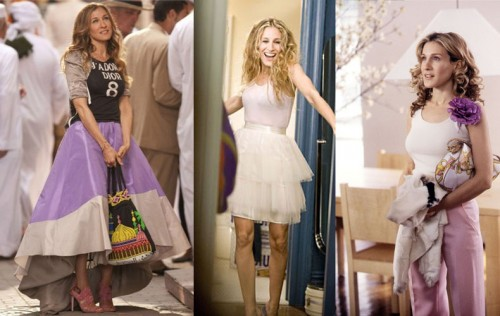 Carrie Bradshaw in pastel outfits