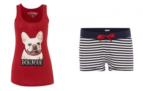 rode pyjama met hond en een short