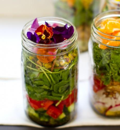 vegan salade in een Mason Jar