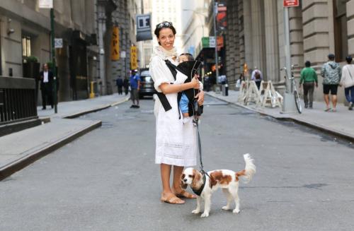 moeder met hond