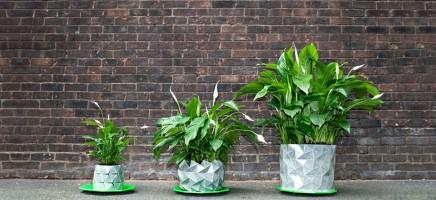 Deze bloempot - geïnspireerd op origami - groeit met je plant...