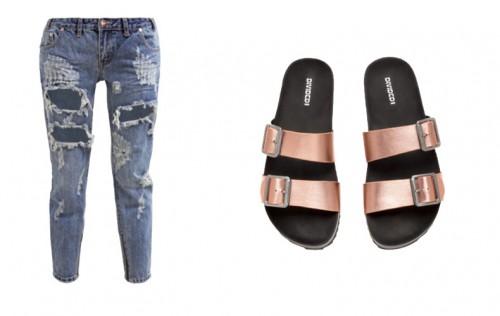 jeans en slippers