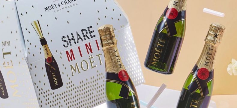 Proost: je kunt nu een sixpack met kleine Moët champagneflesj...