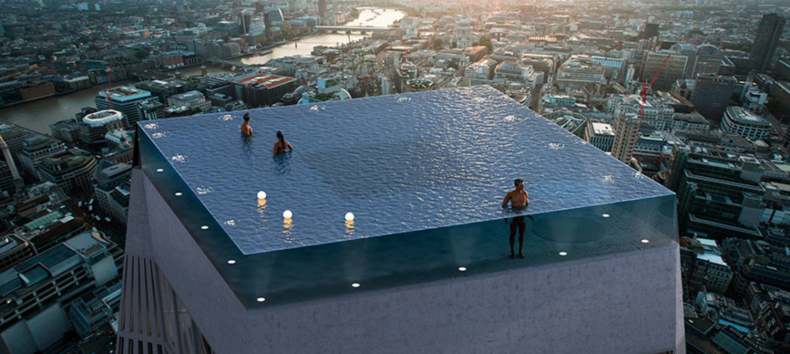 Deze 360 graden infinity pool is bovenaards!