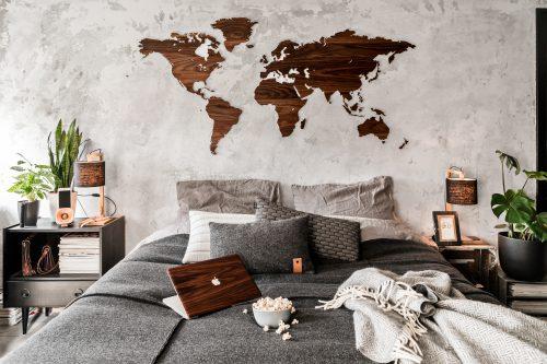 Wereldkaart Walnotenhout (Wooden Amsterdam) + Laptop Cover (RAUW) - 1