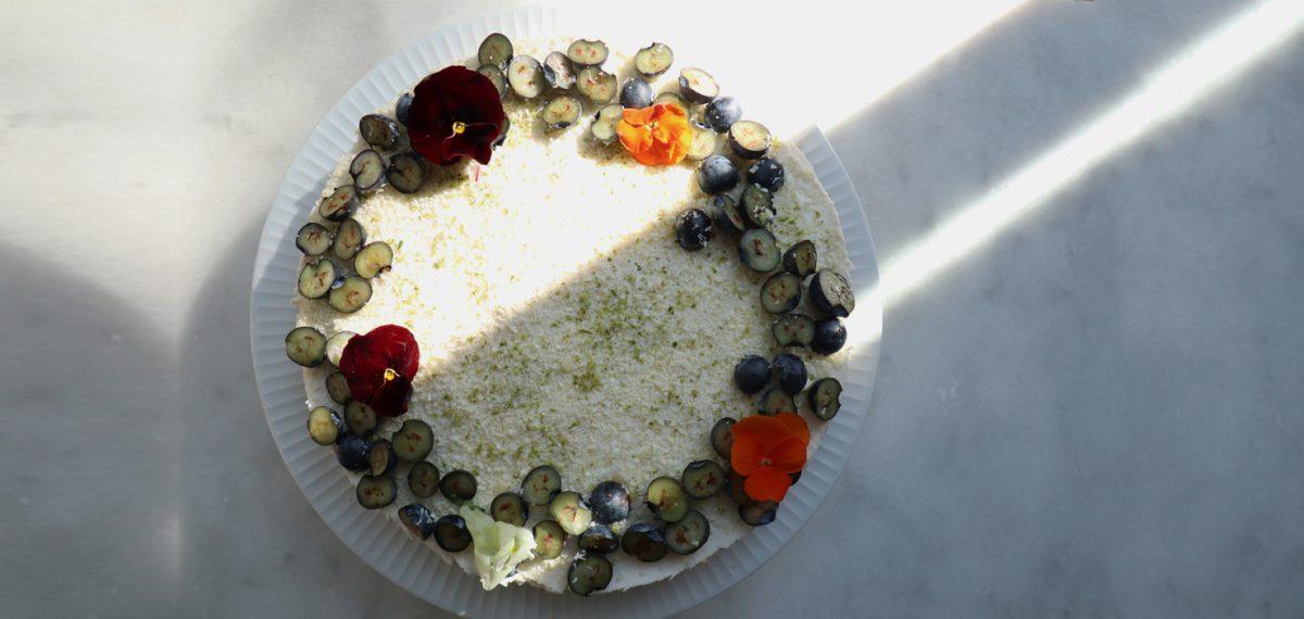 Glutenvrije kokostaart met limoen, bosbessen én witte chocolade
